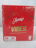 Vibes Rolling Paper King Size Hemp 33 Papers + Tips 24 Booklet Display