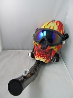Flamed Skull Pattern Acrylic Gas Mask w/ Plastic Pipe