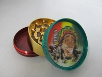 Rasta Color 3 Part Metal Grinder w/ 3D Rasta Man Design 1ct