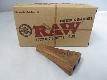 Raw Double Barrel King Size Wooden Cig Holder 1ct