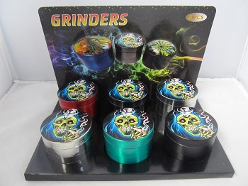 "2.2"" Assorted Biker Skull Design 4part Zinc Grinder 6ct Display"