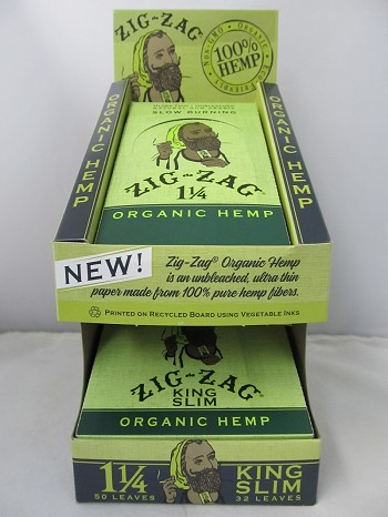 Zig Zag Organic Hemp King Size Slim & 1-1/4 Rolling Papers Combo Display