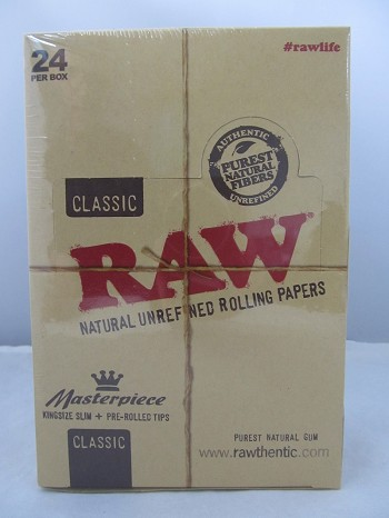 Raw Classic Masterpiece King Size Slim + Pre-Rolled Tips 24ct