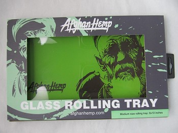 Afghan Hemp 6 Inch X 10 Inch Shatter-Proof Glass Rolling Tray