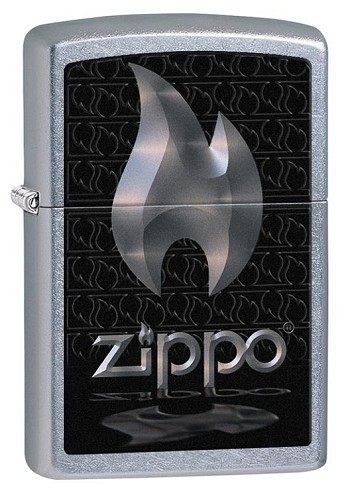 Zippo: Silver Zippo Flame Brushed Chrome # 28445