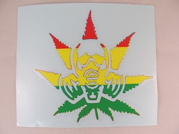 Sticker: Gas Mask Man Rasta Colors