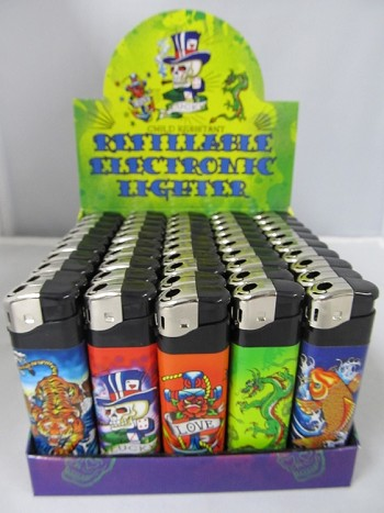 Electronic Refillable Lighter w/Tattoo-1 Design 50ct