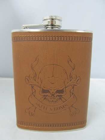8oz Leather Wrapped Stainless Steel Flask w/ Diff Engraving