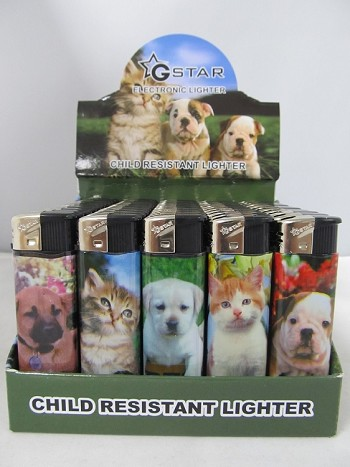 Electronic Refillable Lighter w/ Cats & Dogs Design 50ct