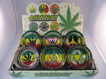 Rasta & Leaf Large Ashtrays 6CT Display
